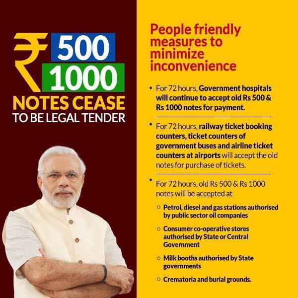 Narendra Modi 500 1000 Notes Demonetized 2